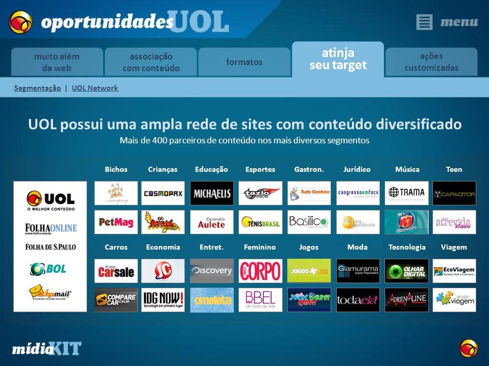 associação com conteúdo formatos atinja seu target ações customizadas muito além da web UOL possui uma ampla rede de sites com conteúdo diversificado