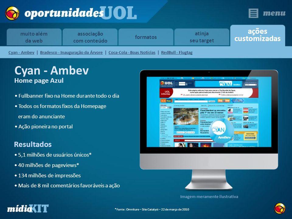 associação com conteúdo formatos ações customizadas muito além da web atinja seu target Cyan - Ambev Home page Azul Fullbanner fixo na Home durante to