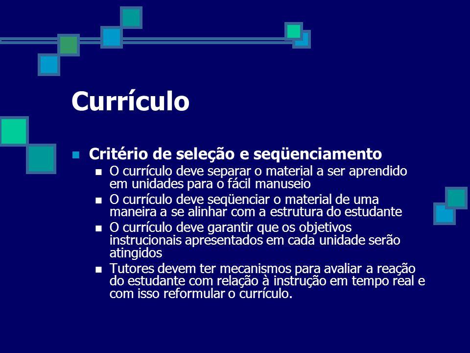 Currículo Critério de seleção e seqüenciamento O currículo deve separar o material a ser aprendido em unidades para o fácil manuseio O currículo deve