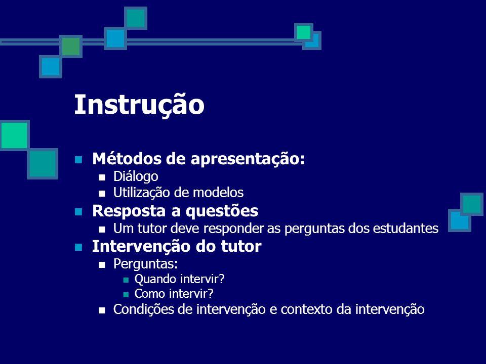 Instrução Métodos de apresentação: Diálogo Utilização de modelos Resposta a questões Um tutor deve responder as perguntas dos estudantes Intervenção d