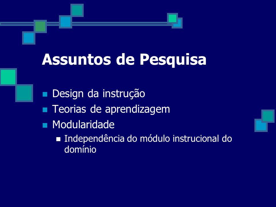 Assuntos de Pesquisa Design da instrução Teorias de aprendizagem Modularidade Independência do módulo instrucional do domínio