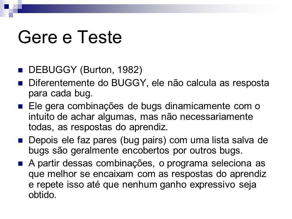 Gere e Teste DEBUGGY (Burton, 1982) Diferentemente do BUGGY, ele não calcula as resposta para cada bug.