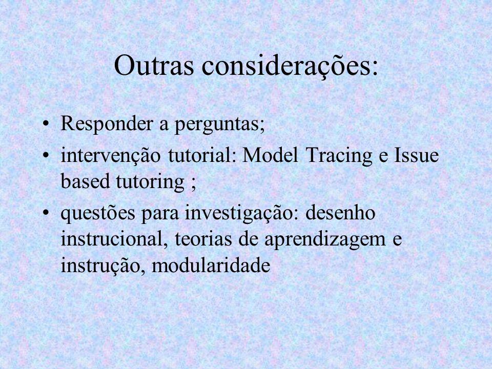 Outras considerações: Responder a perguntas; intervenção tutorial: Model Tracing e Issue based tutoring ; questões para investigação: desenho instruci