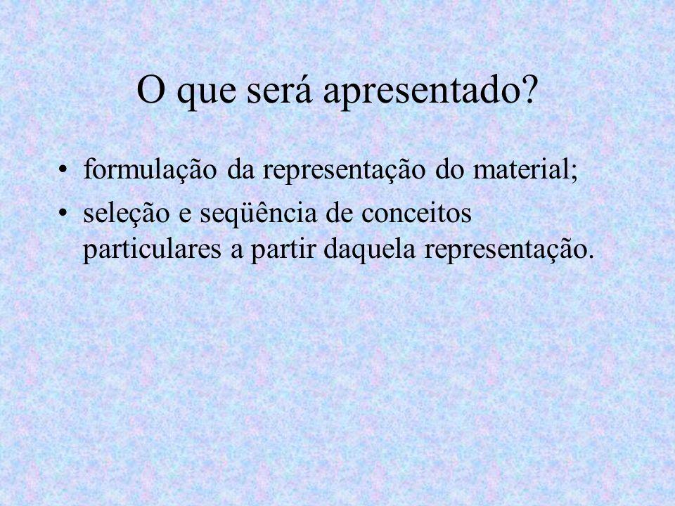 O que será apresentado? formulação da representação do material; seleção e seqüência de conceitos particulares a partir daquela representação.