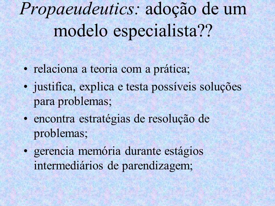 Propaeudeutics: adoção de um modelo especialista?? relaciona a teoria com a prática; justifica, explica e testa possíveis soluções para problemas; enc