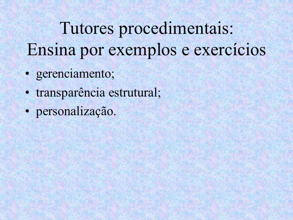 Tutores procedimentais: Ensina por exemplos e exercícios gerenciamento; transparência estrutural; personalização.