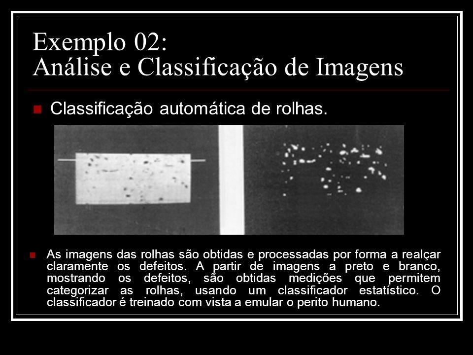 Exemplo 02: Análise e Classificação de Imagens Classificação automática de rolhas. As imagens das rolhas são obtidas e processadas por forma a realçar