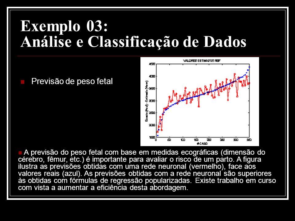 Exemplo 03: Análise e Classificação de Dados Previsão de peso fetal A previsão do peso fetal com base em medidas ecográficas (dimensão do cérebro, fêmur, etc.) é importante para avaliar o risco de um parto.