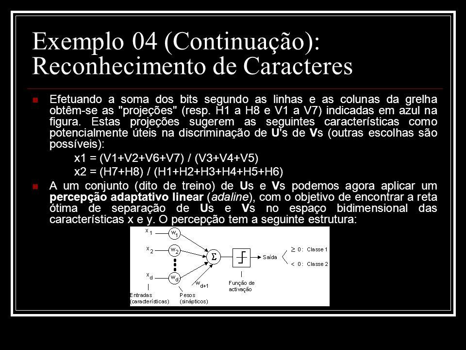 Exemplo 04 (Continuação): Reconhecimento de Caracteres Efetuando a soma dos bits segundo as linhas e as colunas da grelha obtêm-se as projeções (resp.