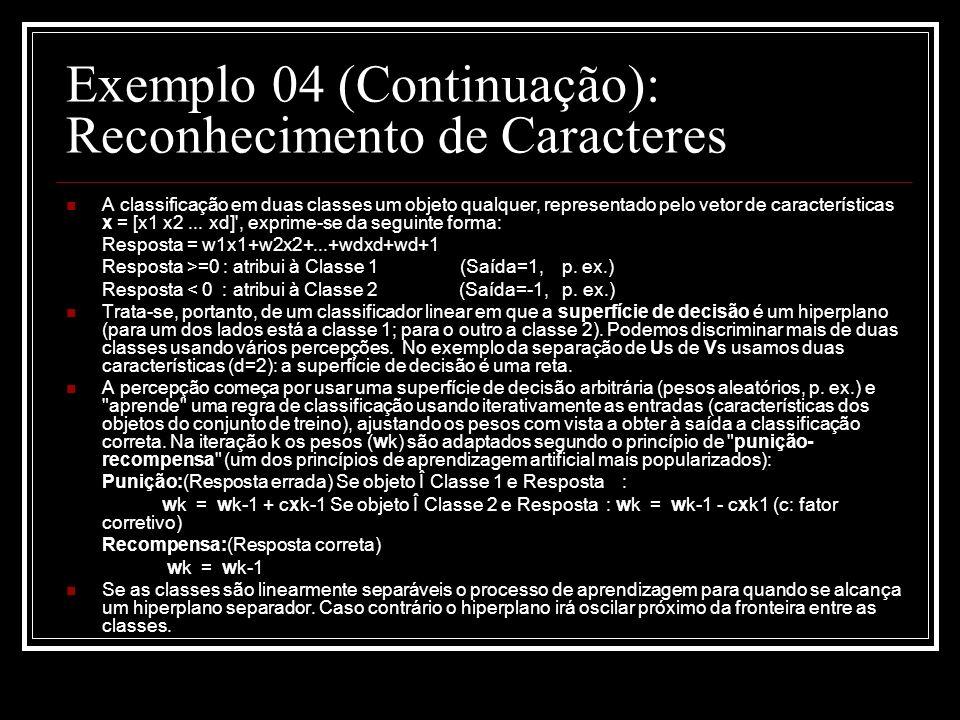 Exemplo 04 (Continuação): Reconhecimento de Caracteres A classificação em duas classes um objeto qualquer, representado pelo vetor de características x = [x1 x2...