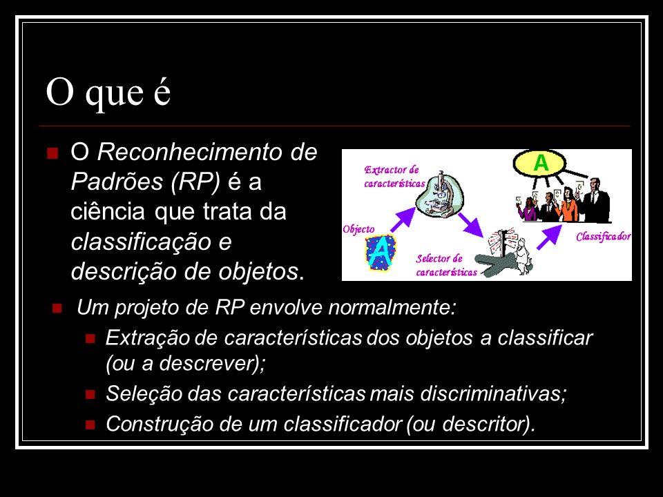 O que é O Reconhecimento de Padrões (RP) é a ciência que trata da classificação e descrição de objetos. Um projeto de RP envolve normalmente: Extração