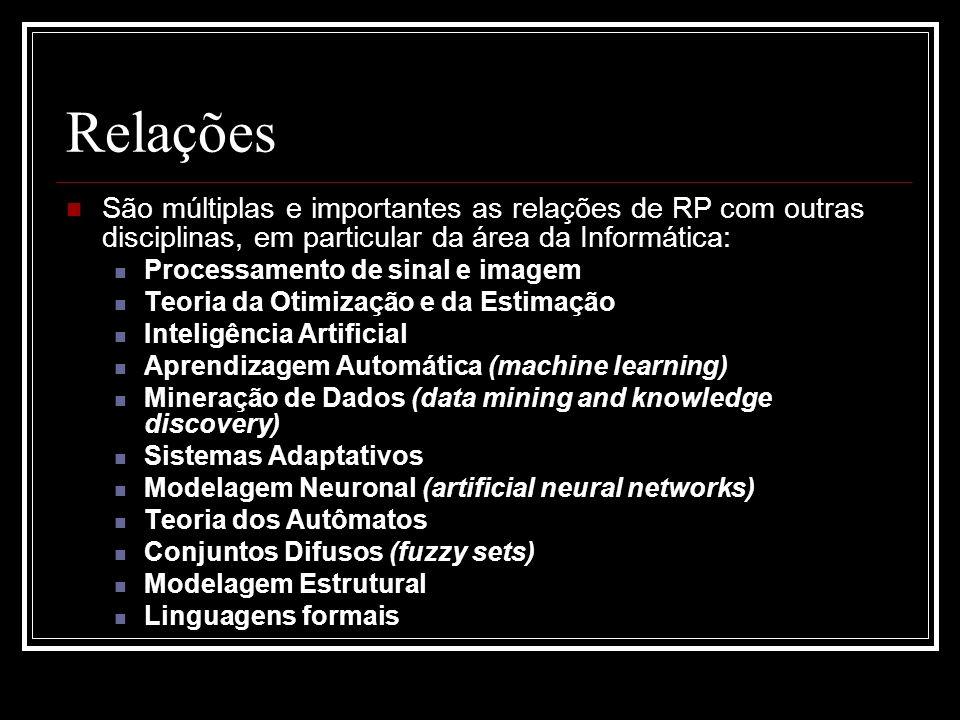 Relações São múltiplas e importantes as relações de RP com outras disciplinas, em particular da área da Informática: Processamento de sinal e imagem Teoria da Otimização e da Estimação Inteligência Artificial Aprendizagem Automática (machine learning) Mineração de Dados (data mining and knowledge discovery) Sistemas Adaptativos Modelagem Neuronal (artificial neural networks) Teoria dos Autômatos Conjuntos Difusos (fuzzy sets) Modelagem Estrutural Linguagens formais