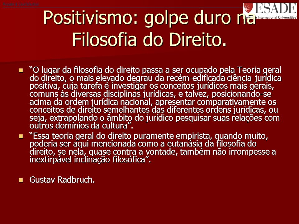 Private & Confidential Positivismo: golpe duro na Filosofia do Direito.