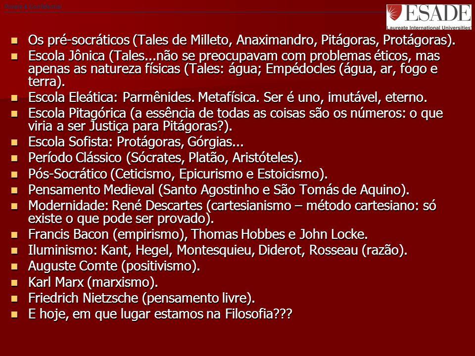 Os pré-socráticos (Tales de Milleto, Anaximandro, Pitágoras, Protágoras).