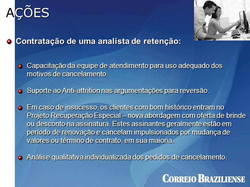 Contratação de uma analista de retenção: AÇÕES Capacitação da equipe de atendimento para uso adequado dos motivos de cancelamento. Suporte ao Anti-att