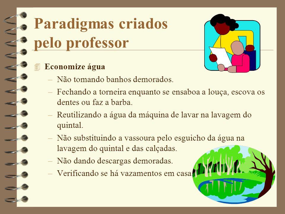 Paradigmas criados pelo professor 4 Economize água –Não tomando banhos demorados. –Fechando a torneira enquanto se ensaboa a louça, escova os dentes o
