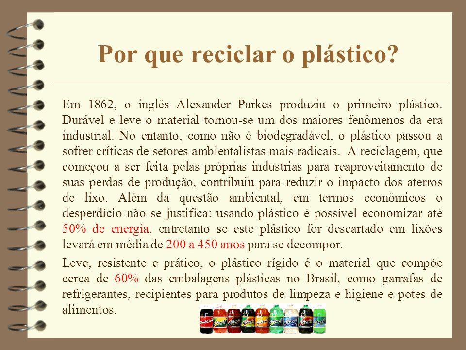 Por que reciclar o plástico? Em 1862, o inglês Alexander Parkes produziu o primeiro plástico. Durável e leve o material tornou-se um dos maiores fenôm