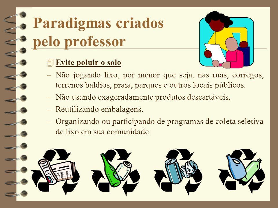 Paradigmas criados pelo professor 4Evite poluir o solo –Não jogando lixo, por menor que seja, nas ruas, córregos, terrenos baldios, praia, parques e o