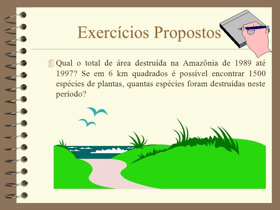 Exercícios Propostos 4Qual o total de área destruída na Amazônia de 1989 até 1997? Se em 6 km quadrados é possível encontrar 1500 espécies de plantas,