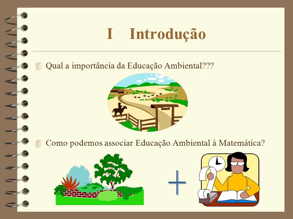 I Introdução 4 Qual a importância da Educação Ambiental??? 4 Como podemos associar Educação Ambiental à Matemática?