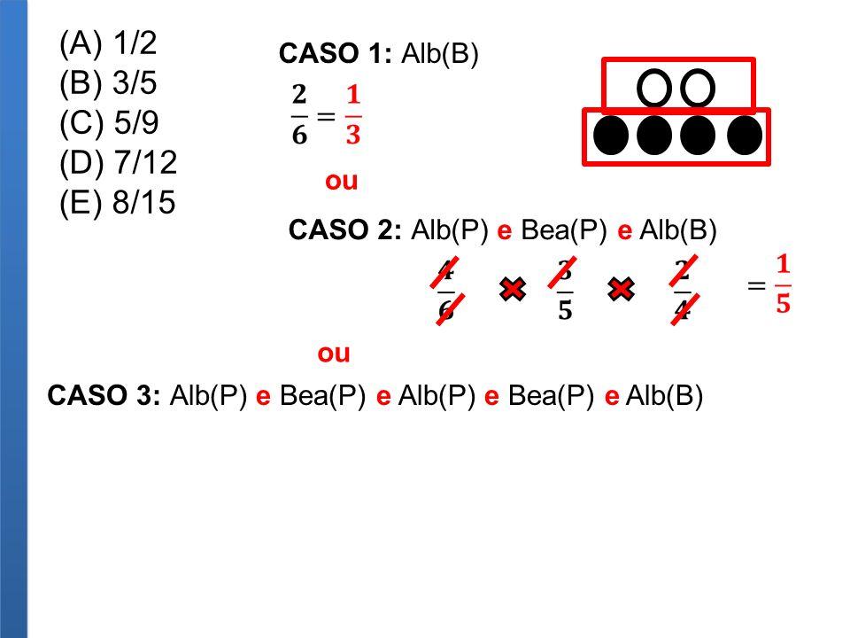 (A) 1/2 (B) 3/5 (C) 5/9 (D) 7/12 (E) 8/15 CASO 1: Alb(B) CASO 2: Alb(P) e Bea(P) e Alb(B) ou CASO 3: Alb(P) e Bea(P) e Alb(P) e Bea(P) e Alb(B) ou