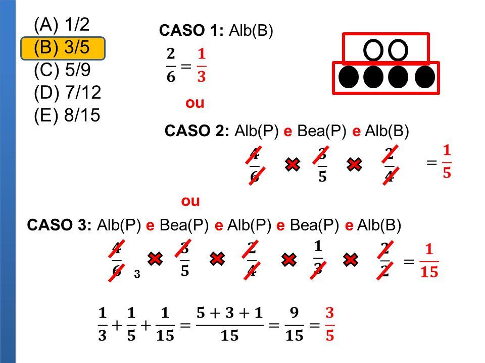 (A) 1/2 (B) 3/5 (C) 5/9 (D) 7/12 (E) 8/15 CASO 1: Alb(B) CASO 2: Alb(P) e Bea(P) e Alb(B) ou CASO 3: Alb(P) e Bea(P) e Alb(P) e Bea(P) e Alb(B) ou 3
