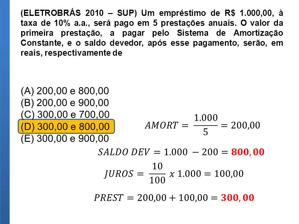 (ELETROBRÁS 2010 – SUP) Um empréstimo de R$ 1.000,00, à taxa de 10% a.a., será pago em 5 prestações anuais. O valor da primeira prestação, a pagar pel
