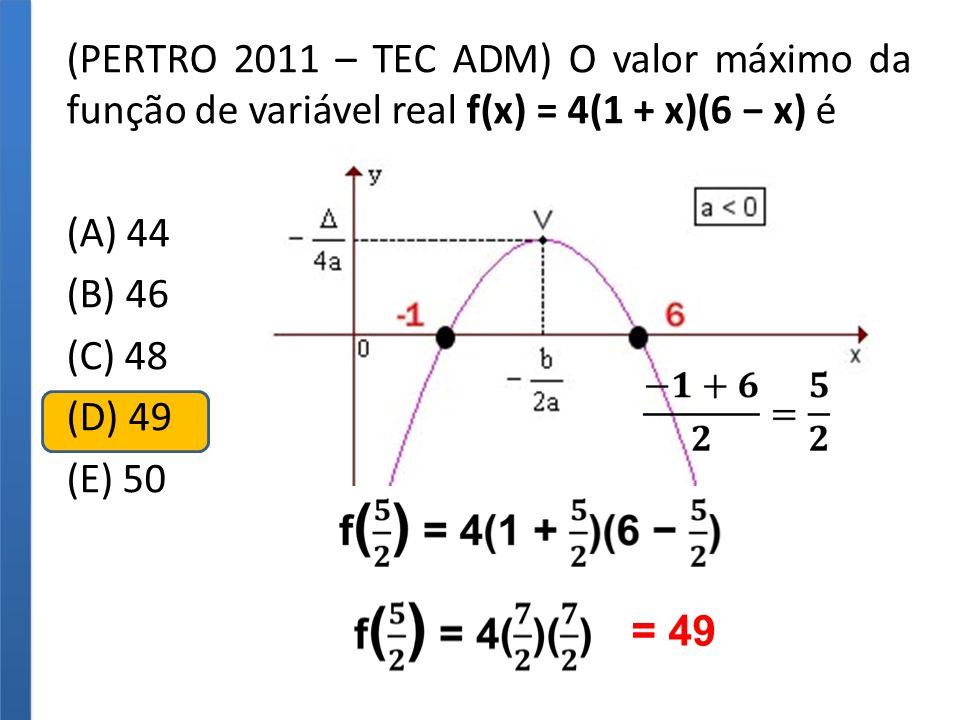 (PERTRO 2011 – TEC ADM) O valor máximo da função de variável real f(x) = 4(1 + x)(6 x) é (A) 44 (B) 46 (C) 48 (D) 49 (E) 50 f(x) = 4(1 + x)(6 x) Máxim