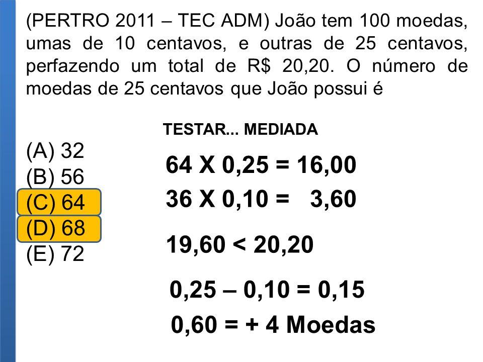 (PERTRO 2011 – TEC ADM) João tem 100 moedas, umas de 10 centavos, e outras de 25 centavos, perfazendo um total de R$ 20,20. O número de moedas de 25 c