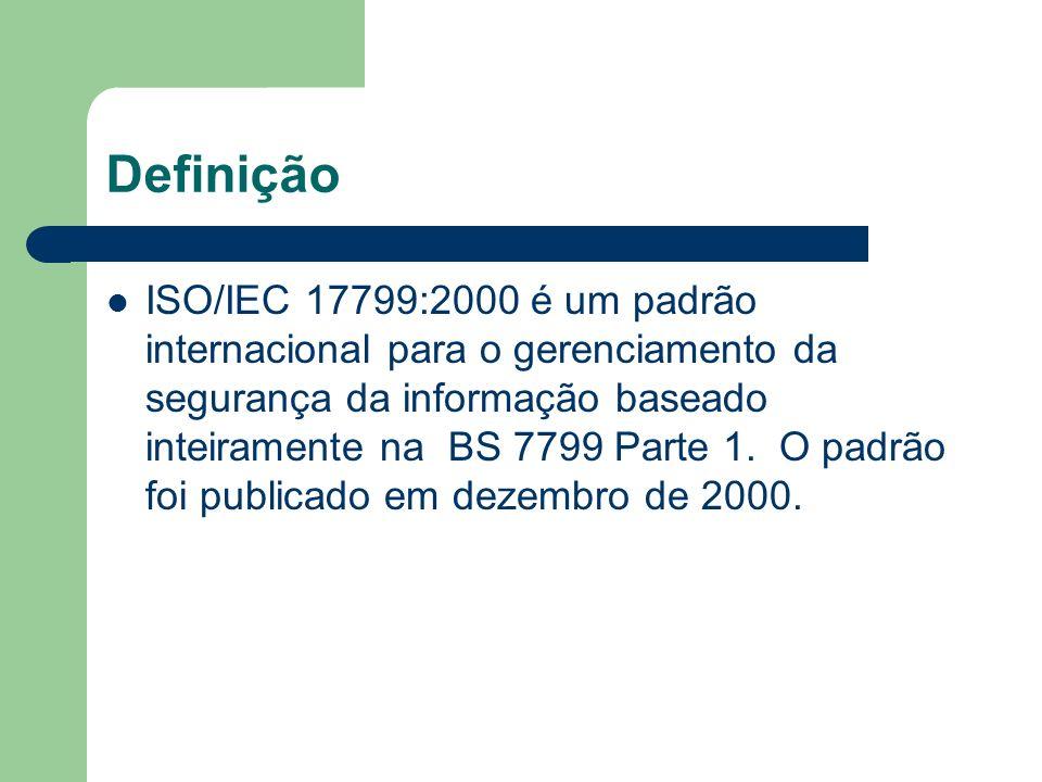 Definição ISO/IEC 17799:2000 é um padrão internacional para o gerenciamento da segurança da informação baseado inteiramente na BS 7799 Parte 1. O padr