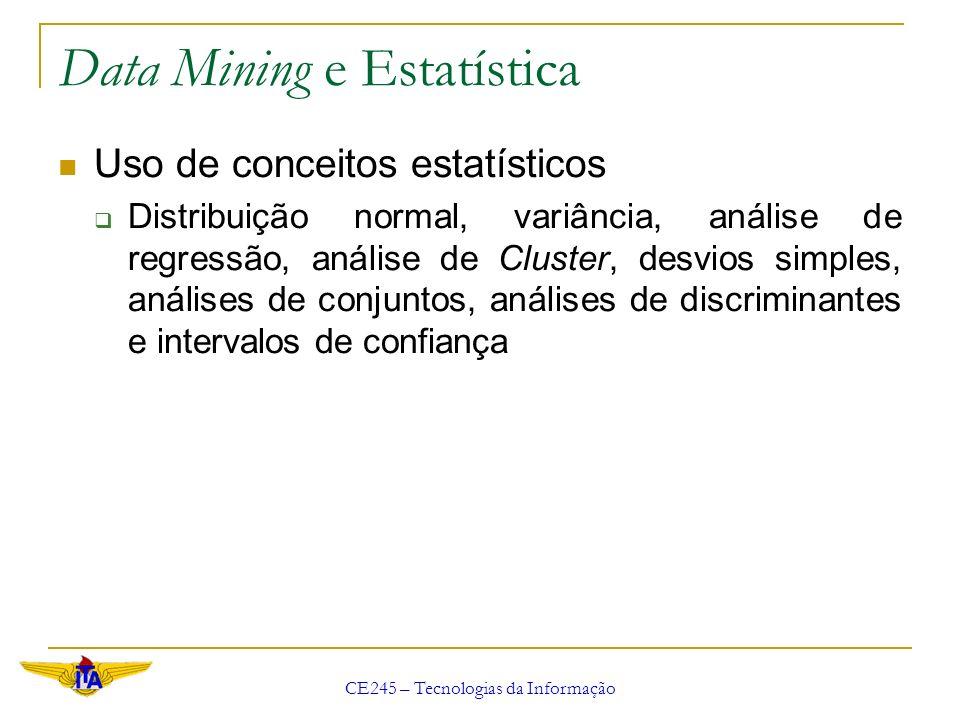 CE245 – Tecnologias da Informação Data Mining e Estatística Uso de conceitos estatísticos Distribuição normal, variância, análise de regressão, anális