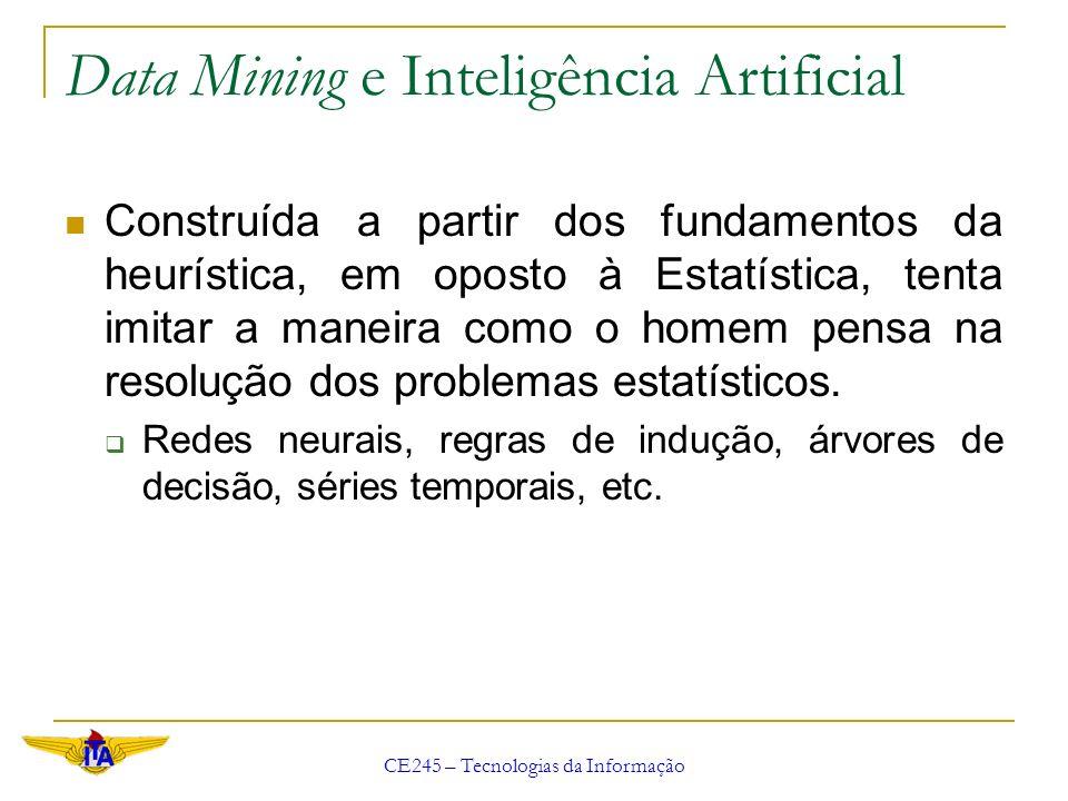 CE245 – Tecnologias da Informação Data Mining e Inteligência Artificial Construída a partir dos fundamentos da heurística, em oposto à Estatística, te