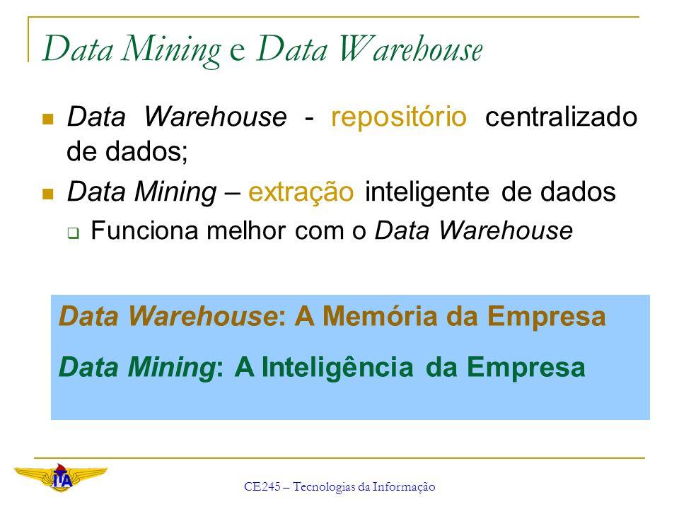 CE245 – Tecnologias da Informação Data Mining e Data Warehouse Data Warehouse - repositório centralizado de dados; Data Mining – extração inteligente