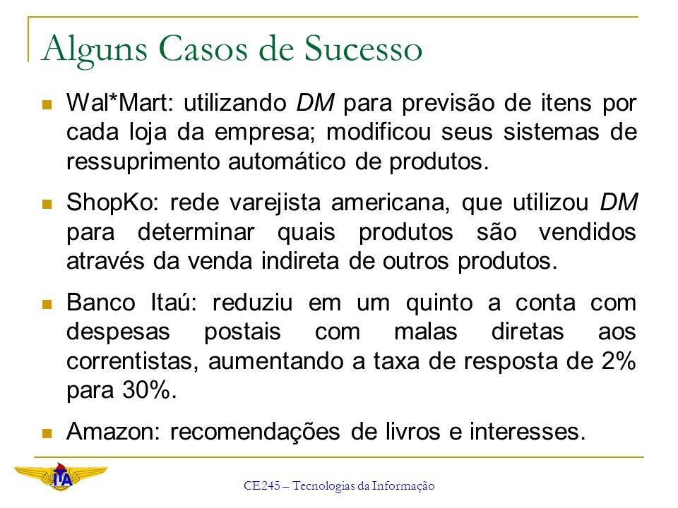 CE245 – Tecnologias da Informação Alguns Casos de Sucesso Wal*Mart: utilizando DM para previsão de itens por cada loja da empresa; modificou seus sist