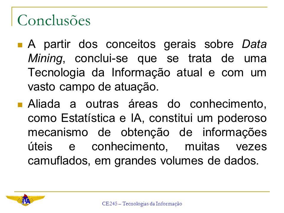 CE245 – Tecnologias da Informação Conclusões A partir dos conceitos gerais sobre Data Mining, conclui-se que se trata de uma Tecnologia da Informação