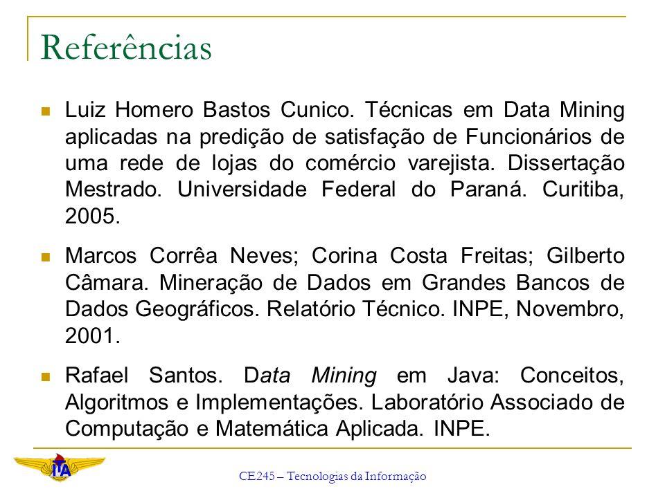 CE245 – Tecnologias da Informação Data Mining e Estatística Uso de conceitos estatísticos Distribuição normal, variância, análise de regressão, análise de Cluster, desvios simples, análises de conjuntos, análises de discriminantes e intervalos de confiança