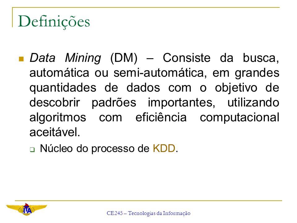 CE245 – Tecnologias da Informação Definições Data Mining (DM) – Consiste da busca, automática ou semi-automática, em grandes quantidades de dados com