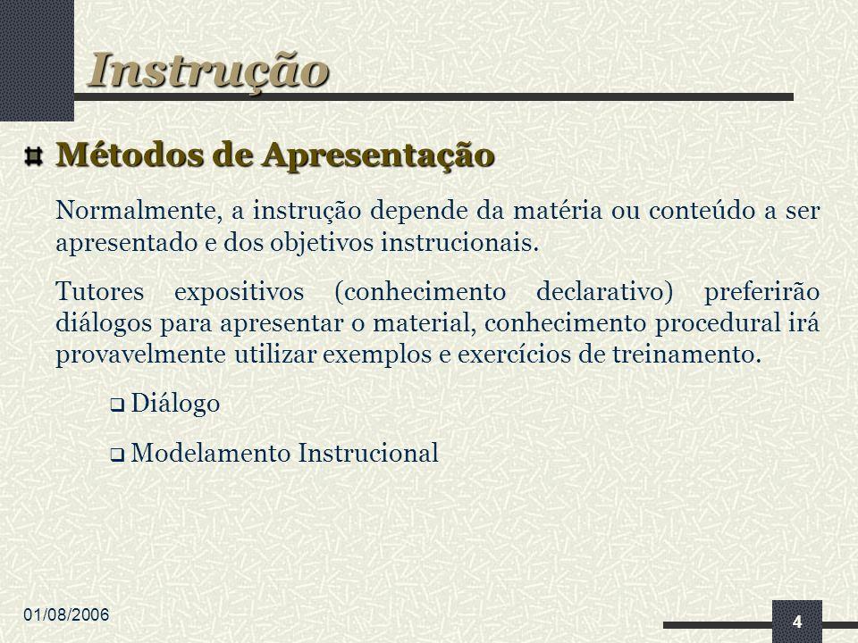 01/08/2006 5 Dialogo Técnica mais utilizada em tutores expositivos; Diálogos devem ser planejados; E são sensíveis ao contexto do tutor.