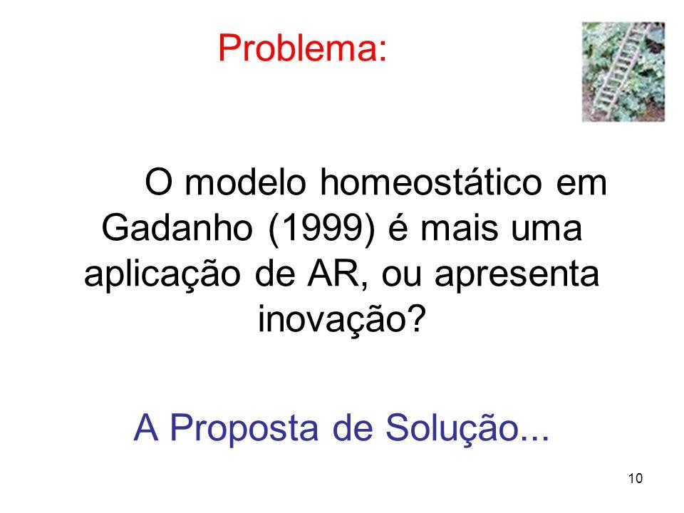10 Problema: O modelo homeostático em Gadanho (1999) é mais uma aplicação de AR, ou apresenta inovação? A Proposta de Solução...