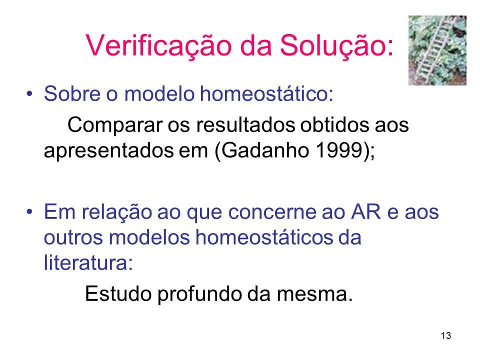13 Verificação da Solução: Sobre o modelo homeostático: Comparar os resultados obtidos aos apresentados em (Gadanho 1999); Em relação ao que concerne