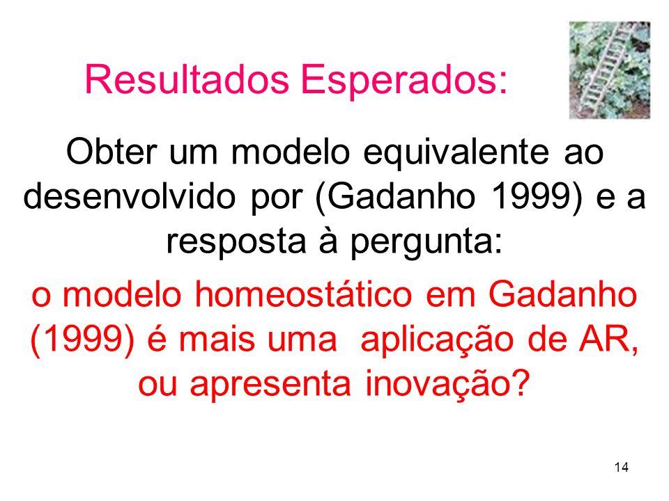 14 Resultados Esperados: Obter um modelo equivalente ao desenvolvido por (Gadanho 1999) e a resposta à pergunta: o modelo homeostático em Gadanho (199