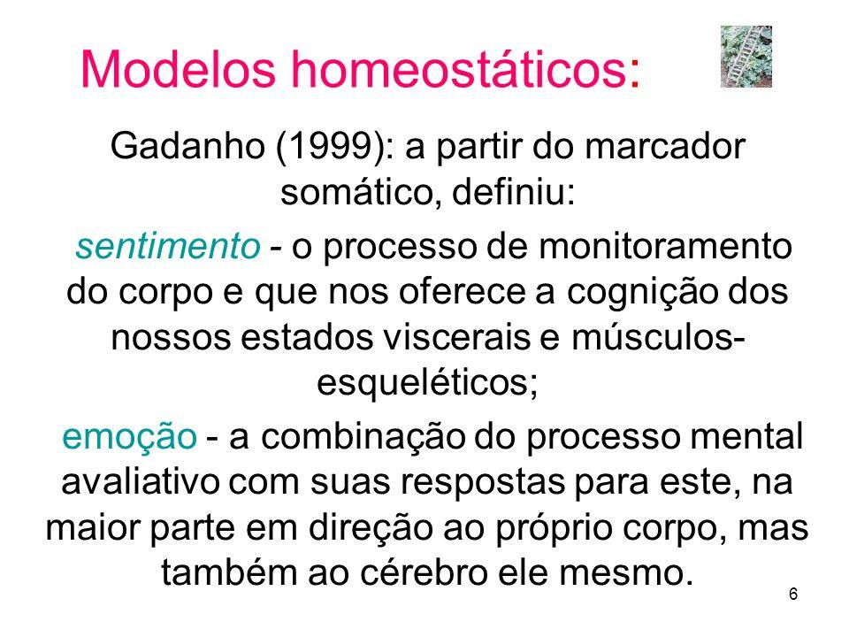 6 Modelos homeostáticos: Gadanho (1999): a partir do marcador somático, definiu: sentimento - o processo de monitoramento do corpo e que nos oferece a