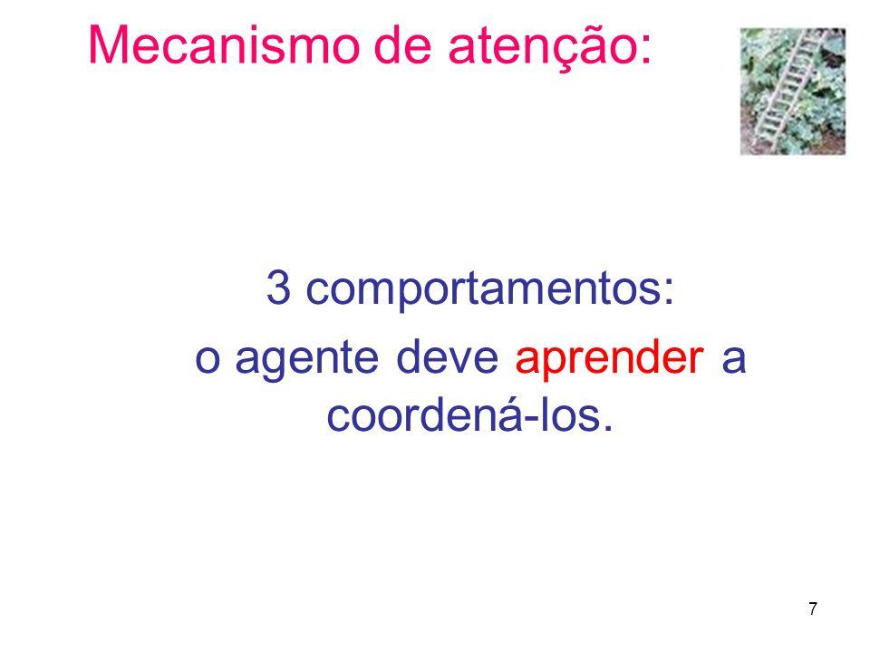 7 Mecanismo de atenção: 3 comportamentos: o agente deve aprender a coordená-los.
