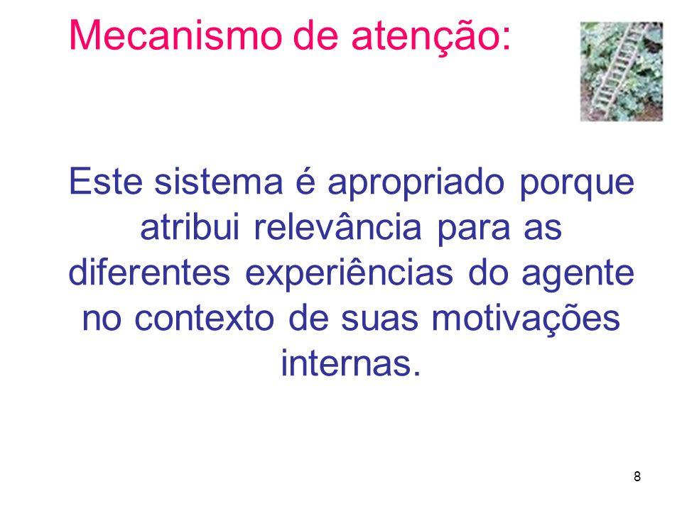 8 Mecanismo de atenção: Este sistema é apropriado porque atribui relevância para as diferentes experiências do agente no contexto de suas motivações i