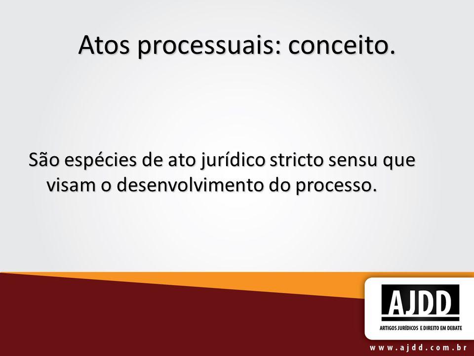 Atos processuais: conceito. São espécies de ato jurídico stricto sensu que visam o desenvolvimento do processo.