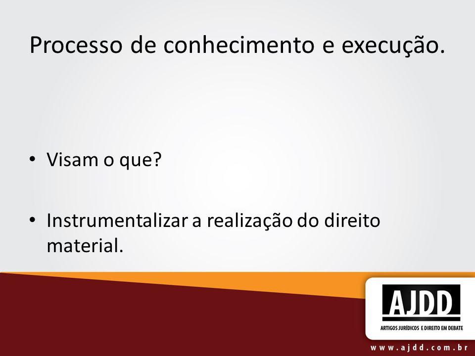 Processo de conhecimento e execução. Visam o que? Instrumentalizar a realização do direito material.