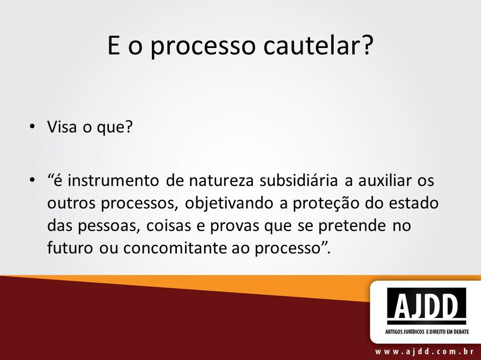 E o processo cautelar? Visa o que? é instrumento de natureza subsidiária a auxiliar os outros processos, objetivando a proteção do estado das pessoas,