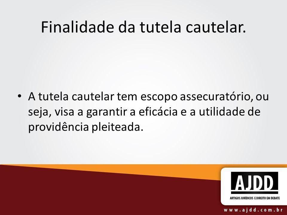 Finalidade da tutela cautelar. A tutela cautelar tem escopo assecuratório, ou seja, visa a garantir a eficácia e a utilidade de providência pleiteada.