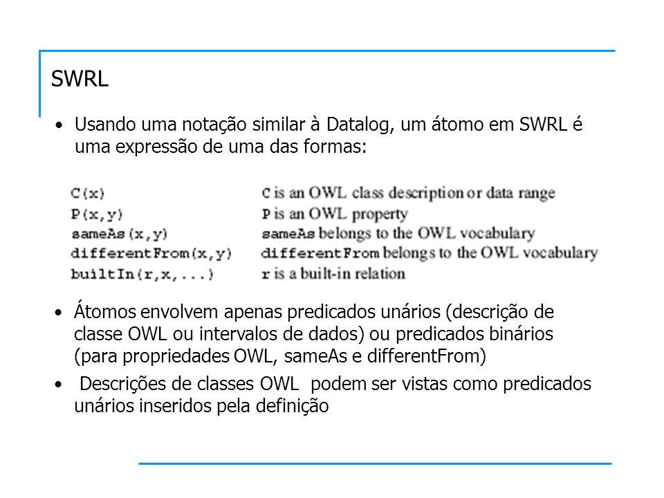 SWRL Usando uma notação similar à Datalog, um átomo em SWRL é uma expressão de uma das formas: Átomos envolvem apenas predicados unários (descrição de