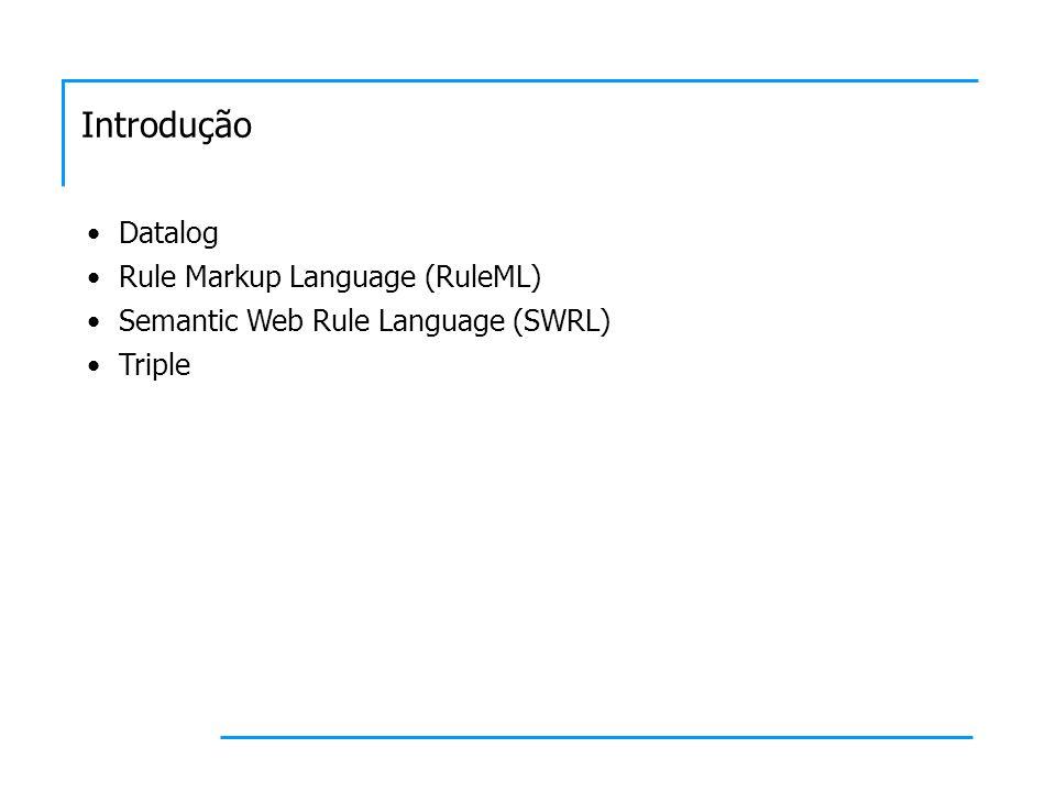 Datalog Datalog é um subconjunto restrito de programação lógica Foi originalmente definida como uma linguagem de query e regra para bases de conhecimento Um alfabeto Datalog A é um conjunto de símbolos de predicados, constantes e variáveis Um termo é uma variável ou constante Um átomo é uma expressão do tipo P(t 1,...,t n ), onde P é um símbolo de predicado e t 1,...,t n são termos